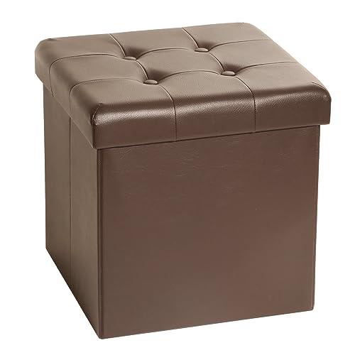 Seville Classics Foldable Faux Leather Storage Ottoman, Espresso
