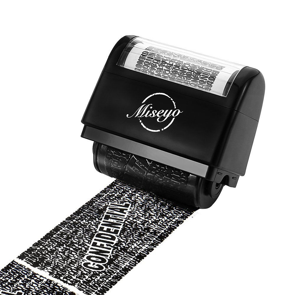 Miseyo Wide Confidential Roller Stamp Identity Theft Protection - Black MS-002-IPRS