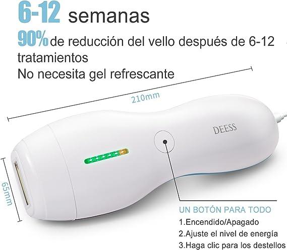 Sistema de Depilación por Luz Pulsada Intensa (IPL), Dispositivo DEESS series 3 Plus de Depilación Permanente para Cara y Cuerpo, 350.000 pulsaciones de luz, Uso Doméstico -Azul-Aprobado por la FDA: Amazon.es: Salud