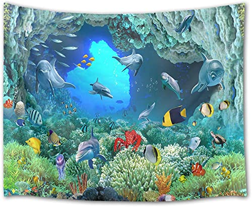 HVEST Dolphin Tapestry Tropical Fish and Coral Reef in Cave Under Deep Sea Wall Hanging Ocean Tapestries for Kids Bedroom Living Room Dorm Birthday Party Wall Decor,92.5Wx70.9H inches