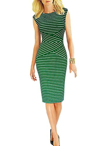 Viwenni® Women's Summer Striped Sleeveless Wear to Work Casual Party Pencil Dress