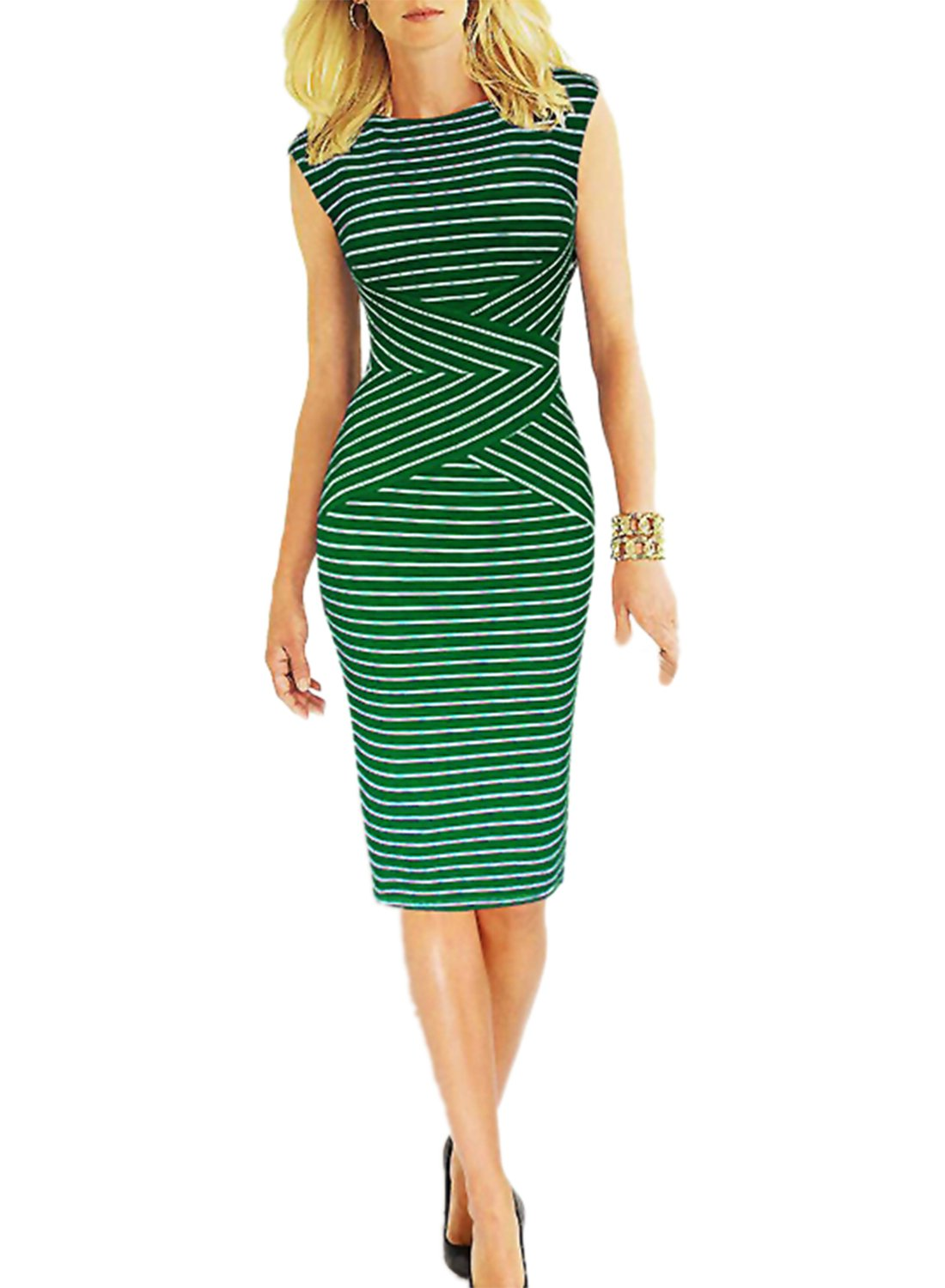 Viwenni Women's Summer Striped Sleeveless Wear to Work Casual Party Pencil Dress,Small,Green