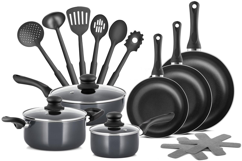 Chefs Star Professional Grade Aluminum 15 Piece Non-stick Pots & Pans Set - Induction Ready Cookware Set