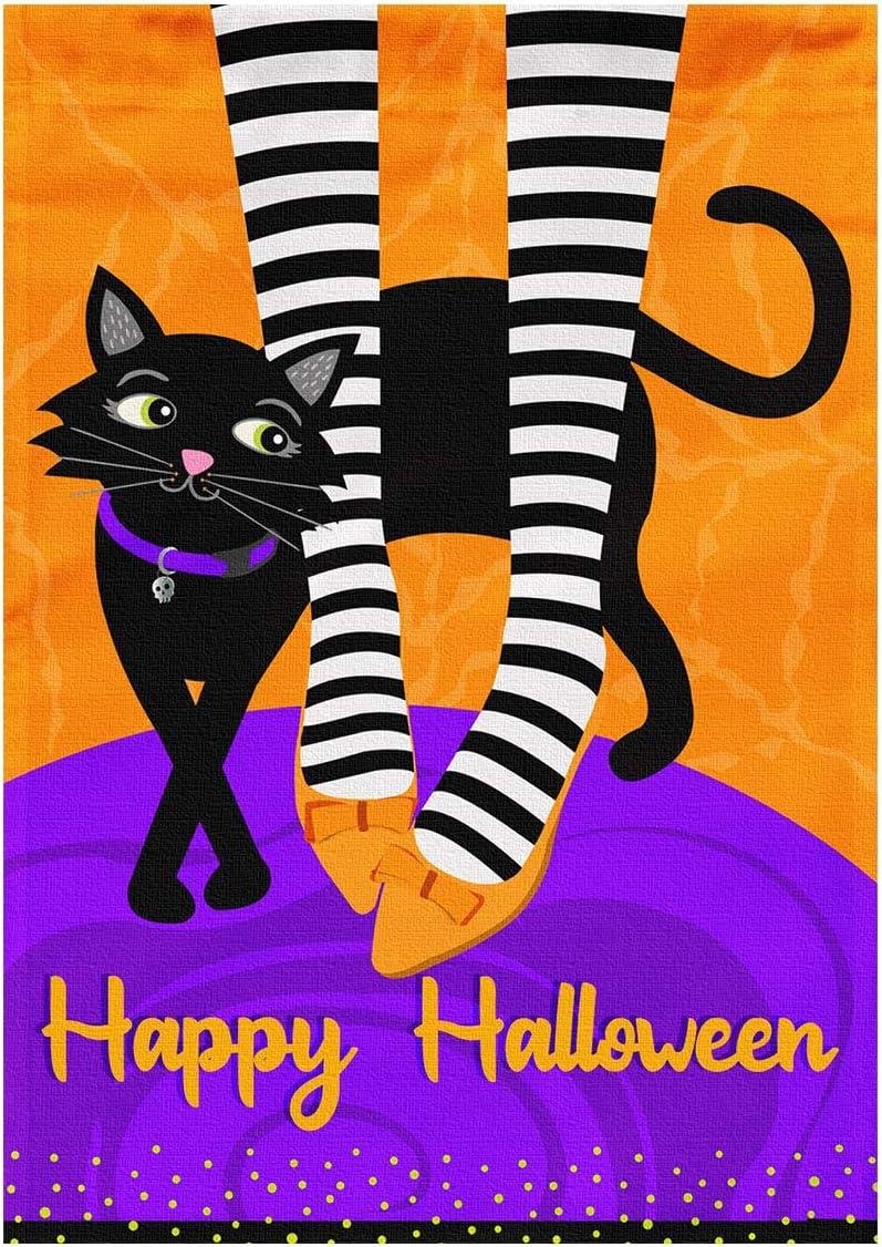 "LYNHEVA Happy Halloween Garden Flag-Witch Leg and Black Cat Yard Flag- Halloween Holiday Waterproof House Flag- Double Sided 12""x18"""