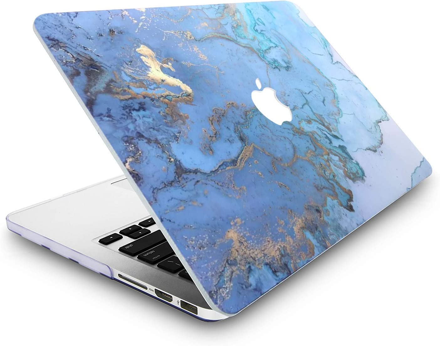 L2W Funda MacBook Pro Nuevo 13 Pulgadas con Touch Bar Modelo A1989//A1706//A1708 Pl/ástico de Impresi/ón Protecci/ón R/ígida el Patr/ón Cover con Relieves,Dise/ño de M/ármol Azul Lanzado en 2016~2018