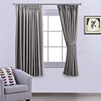 Pencil Pleat Blackout Grey Curtains for Bedroom/Living Room, 117cm Wide x 137cm Long Each Panel - Set of 2 Panels