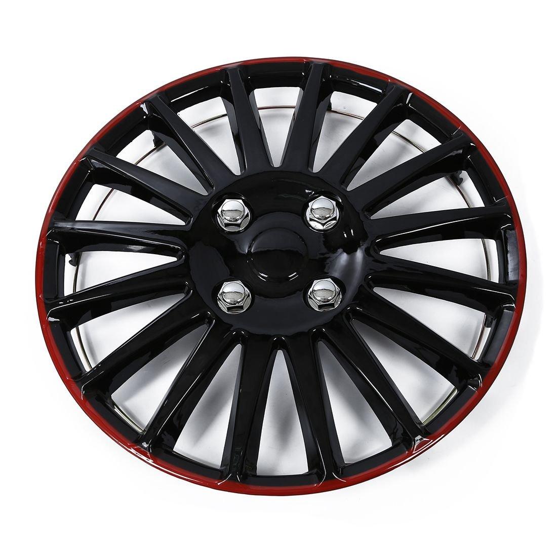 Cikuso 1 pc 13 Pouce Car Wheel Trim Cube Cap Plastique Couvercle Universal Noir Rouge