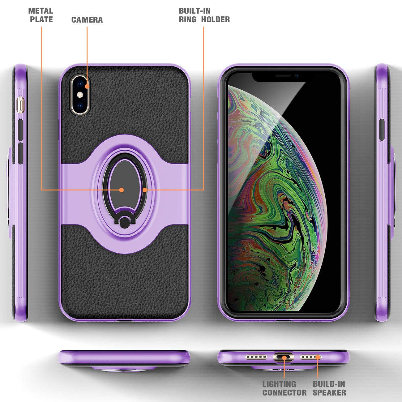 iPhone Xs MAX Case Gold eSamcore Ring Holder Kickstand Cases Dashboard Magnetic Phone Car Mount