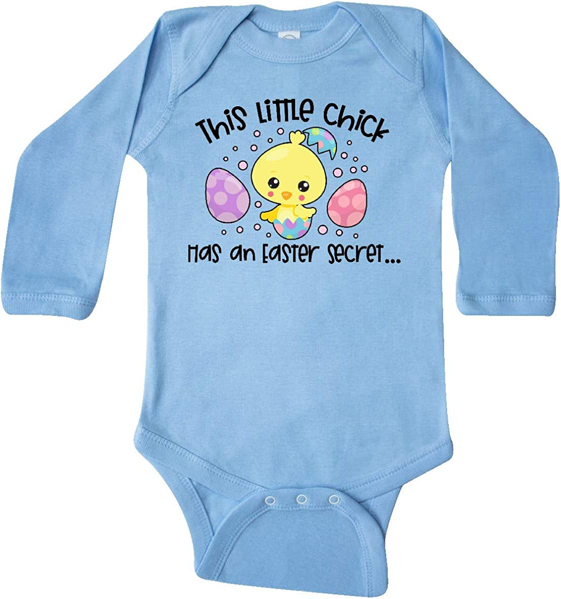 inktastic Easter This Little Chick Has an Easter Secret Long Sleeve Creeper