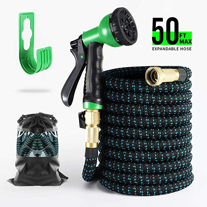 "BOSNELL Expandable Garden Hose,Durable Flex Water Hose,8 Function Spray Hose Nozzle, 3/4"" Solid Brass Connectors, Extra Strength Fabric, Lightweight Expanding Hose 50FT/75FT/100FT (50FT)"