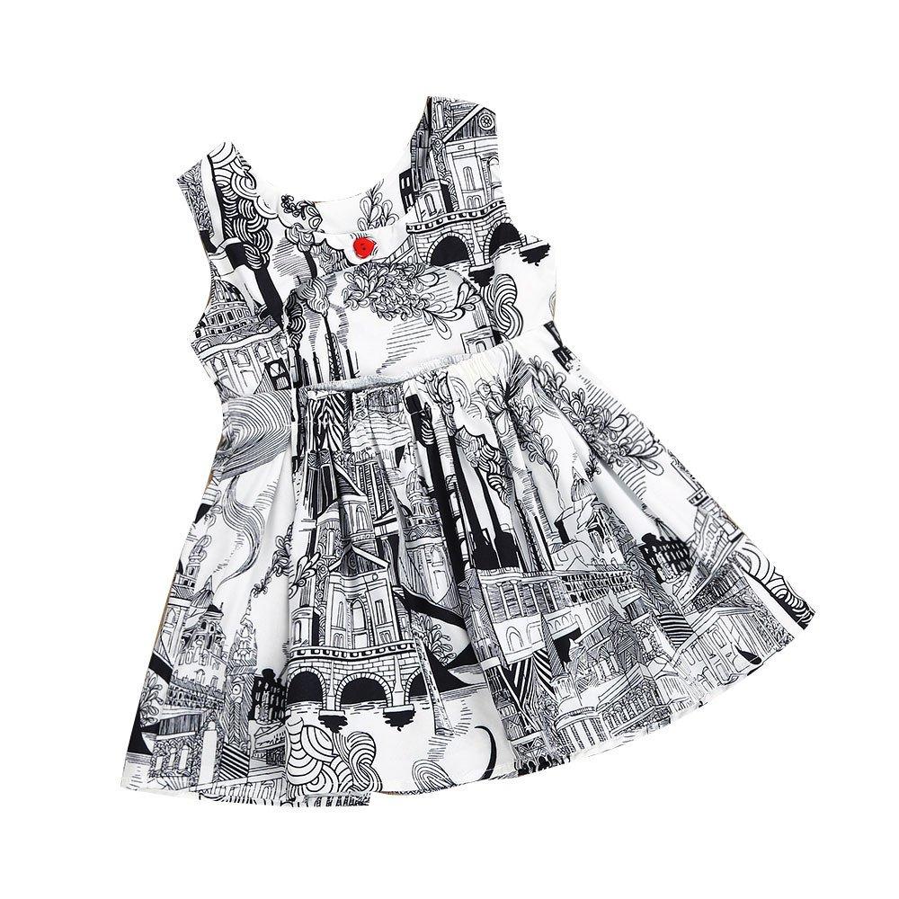 Kehen Kid Toddler Baby Girl Retro Print Sleeveless Backless Princess Dress Summer Party Playwear Dresses (#1, 2T)