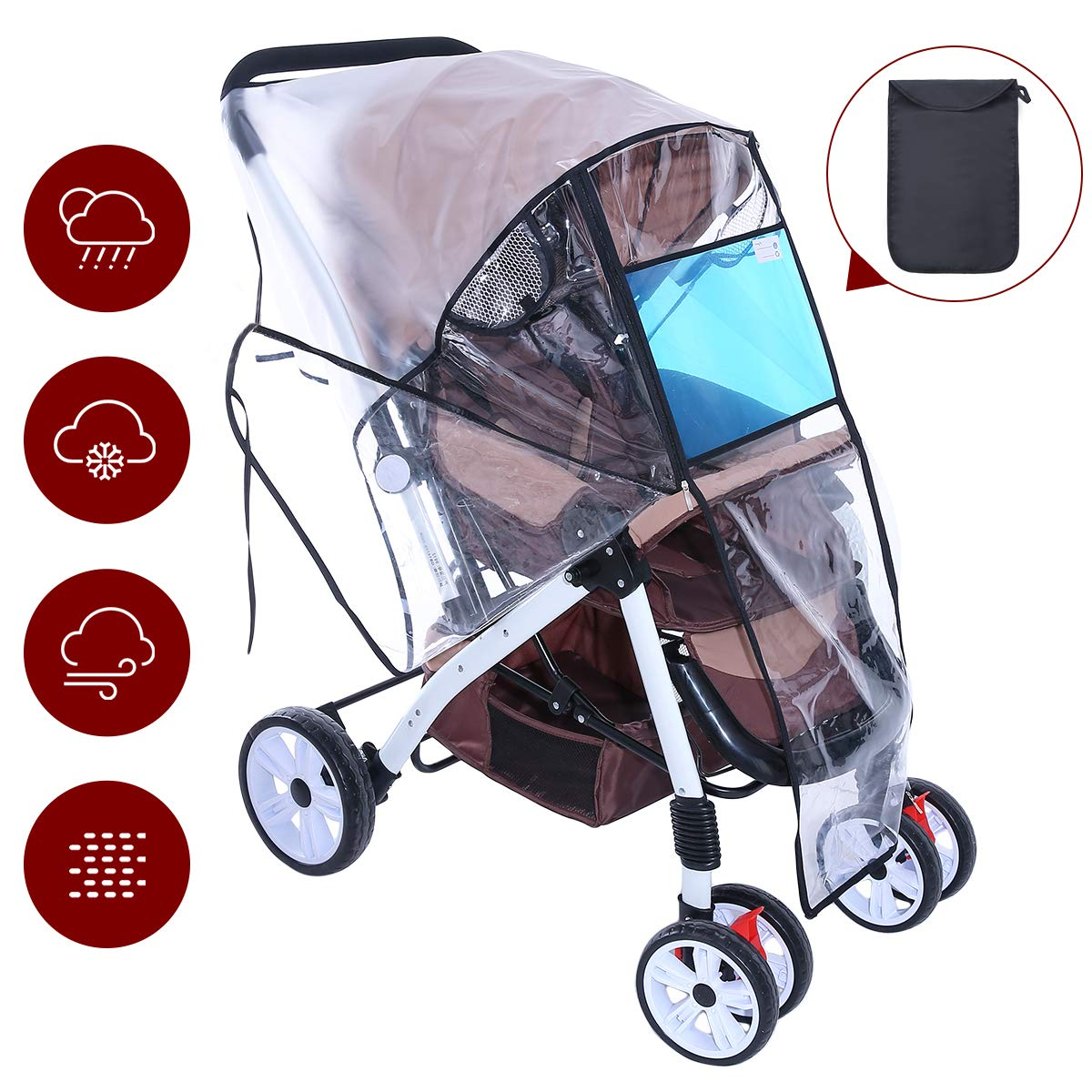 Hrzeem Stroller Rain Cover Stroller Cover Universal Baby Stroller Weather Shield with Storage Pouch EVA Clear Zip Front Opening Waterproof Windproof Protection Easy to Install for Outdoor Use (Black) by Hrzeem (Image #1)