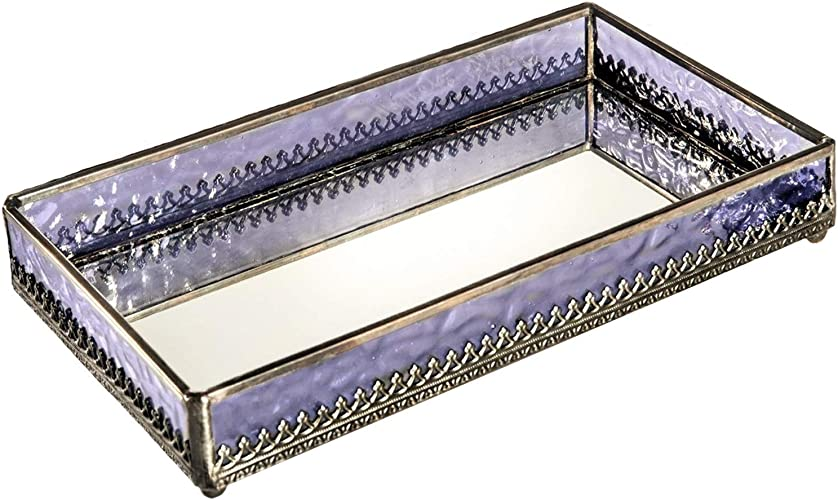 Home Decorative Silver Tray Luxury Platter Crafted With Glass /& Metal Gift