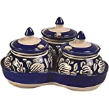 Craftghar: Pickle Jar set (3 jars with lids, 3 spoons, 1 tray ) | 100% Food safe | 100% Microwave Safe | Achar Jar set for dinning table | For storage of Chutney, Pickles, Spices | Gift to friend or Family