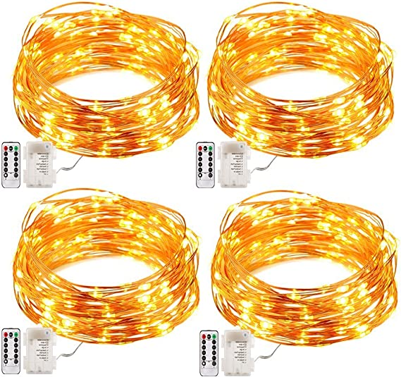 2 Pack 20FT 60LEDs Fairy Lights Battery Operated String Lights with Timer and 8 Mode Remote Control Waterproof Starry String Lights for Bedroom Indoor Outdoor Wedding Dorm Decor Warm White