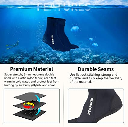 5mm Scuba Snorkeling Dive Boots with Thermal Lining Beach Volleyball Sand Soccer Wetsuit Socks Water Boots for Men Women Diving Surfing Snorkeling Water Sports Yinuoday Neoprene Socks
