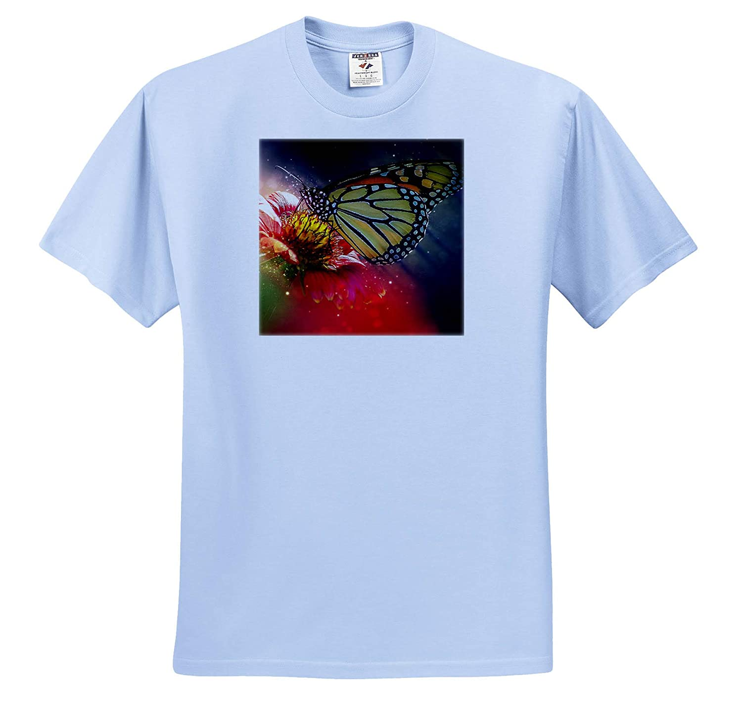 Dreaming Red Flower with Butterfly Insect and Stars Art T-Shirts 3dRose Sven Herkenrath Animal
