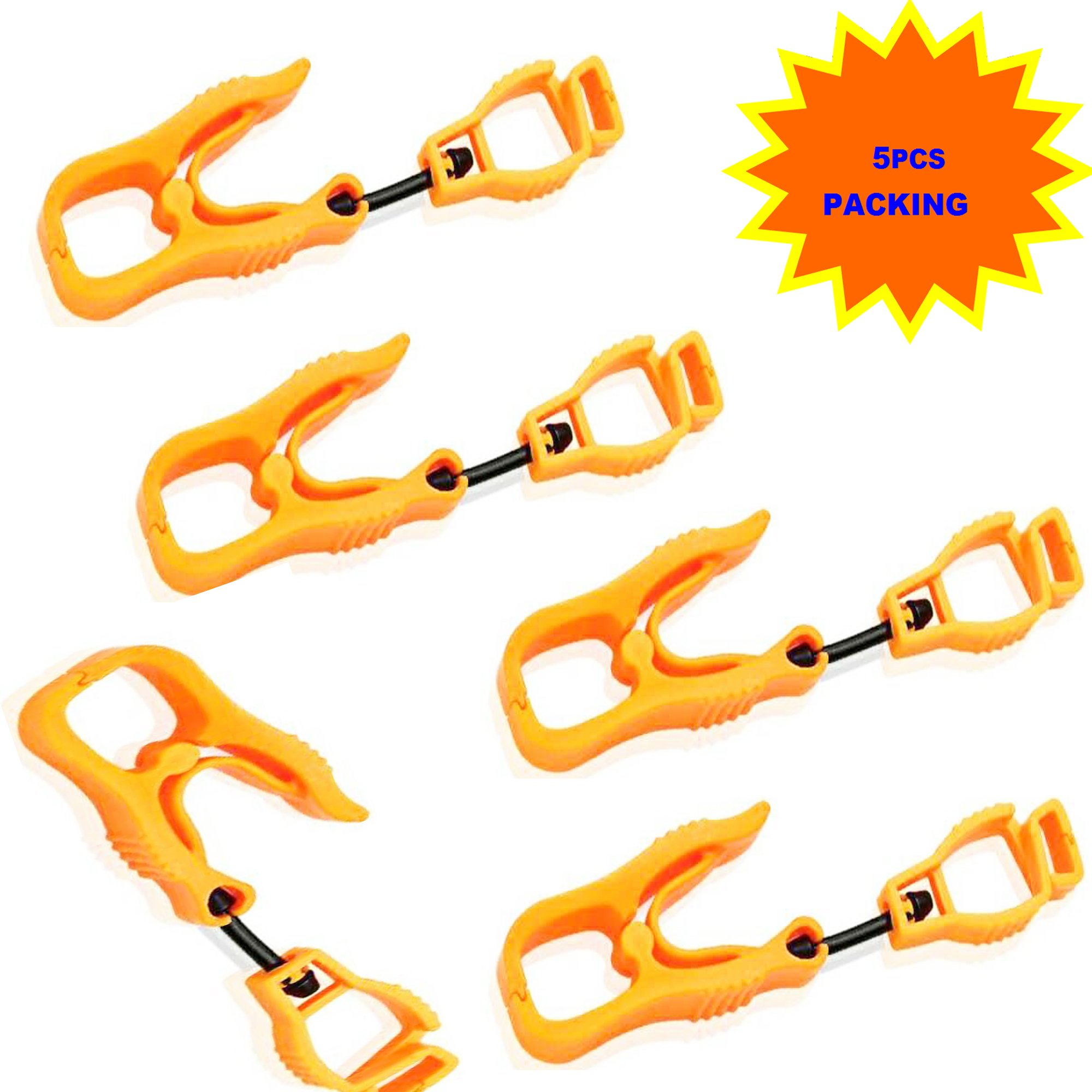 5Pcs AT05-5O Orange Sino-Max Glove Grabber Clip Holder Guard Work Safety Clip Glove Keeper, Neon POM,Reduce Hand Injury and Clip, Grab, Attach Gloves, Towels, Glass, Helmet