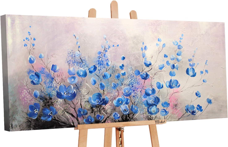 YS-Art | Cuadro Pintado a Mano Cumplido | Cuadro Moderno acrilico | 115x50 cm | Lienzo Pintado a Mano | Cuadros Dormitories | único | Azul