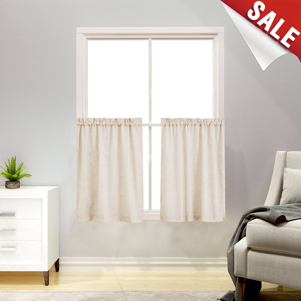 "Linen Textured Kitchen Curtains 36"" Tier Curtains Bathroom Curtain Panels Small CAF?Curtains for Window Treatment Set (2 Panels, Crude)"