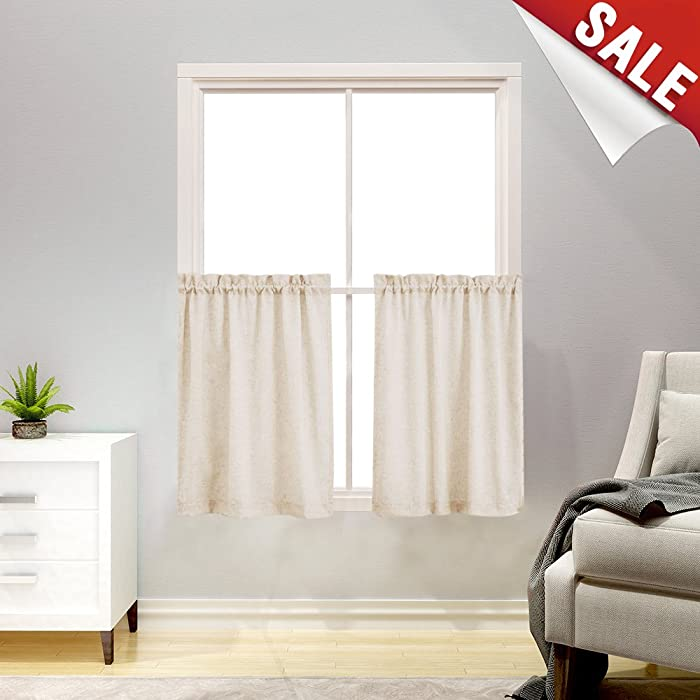"Tier Curtains for Kitchen 24"" CAF?Curtains Solid Short Window Curtain Sets for Bathroom Tiers(1 Pair, Crude)"