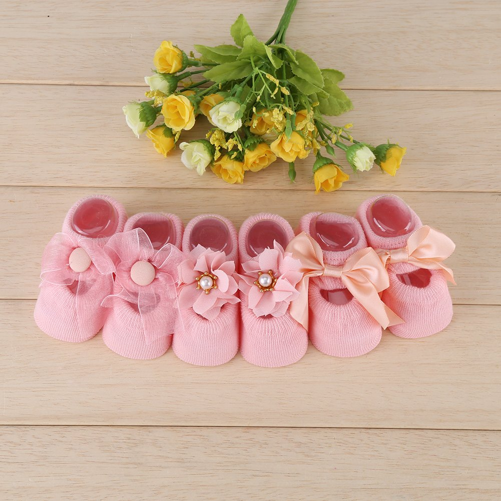 3 Pairs//Sets Baby Girl Cotton Floor Socks Newborn Anti-slip Ankle Lace Flower Butterfly Gift Toddle 0-3 Years Old Pink//1-3 Year Old