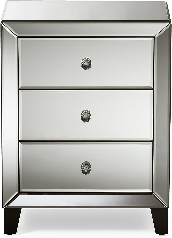 Amazon Com Baxton Studio Fba Rs1155 Nightstands Medium Silver Furniture Decor