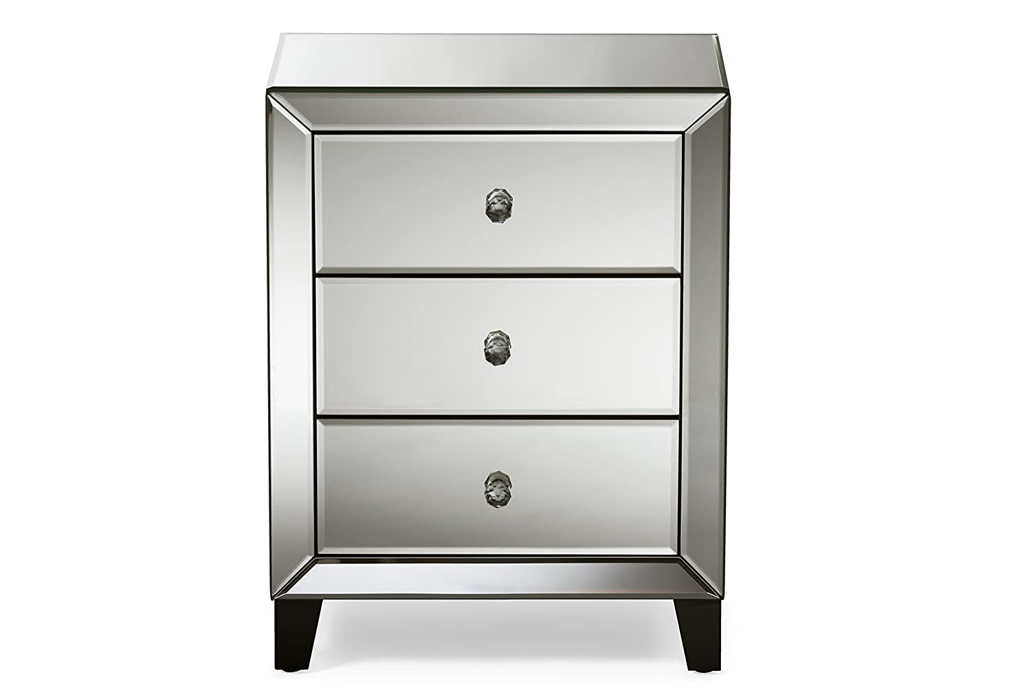 Amazon.com: Baxton Studio Chevron Modern And Contemporary Hollywood Regency  Glamour Style Mirrored 3 Drawers Nightstand Bedside Table, Medium: Kitchen  U0026 ...
