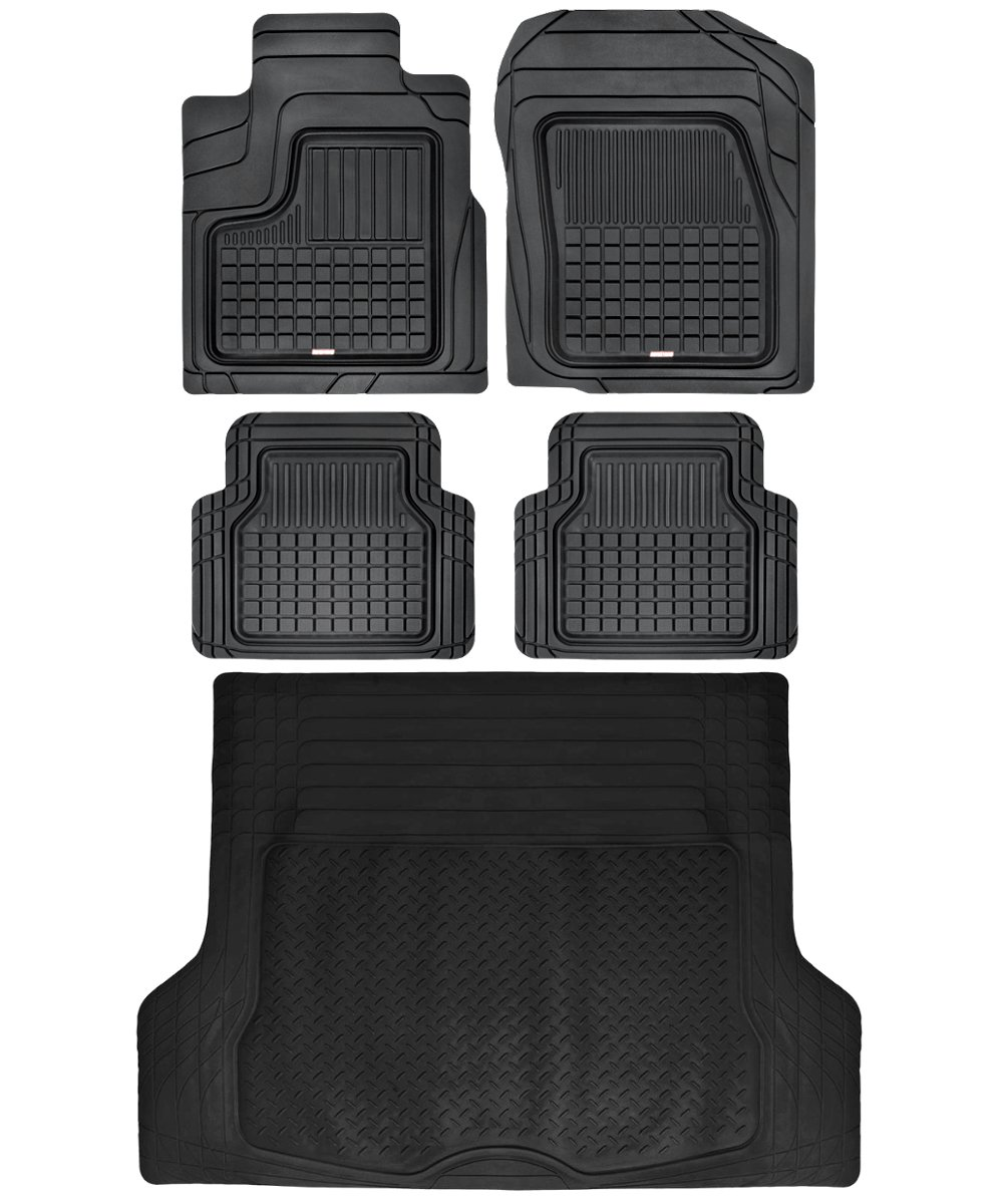 Motor Trend BB210B3 Performance Plus Rubber Car Floor Mat & Cargo Truck Liner All-Weather Heavy Duty, 5 Piece, Semi Custom Fit Trimmable (Black)