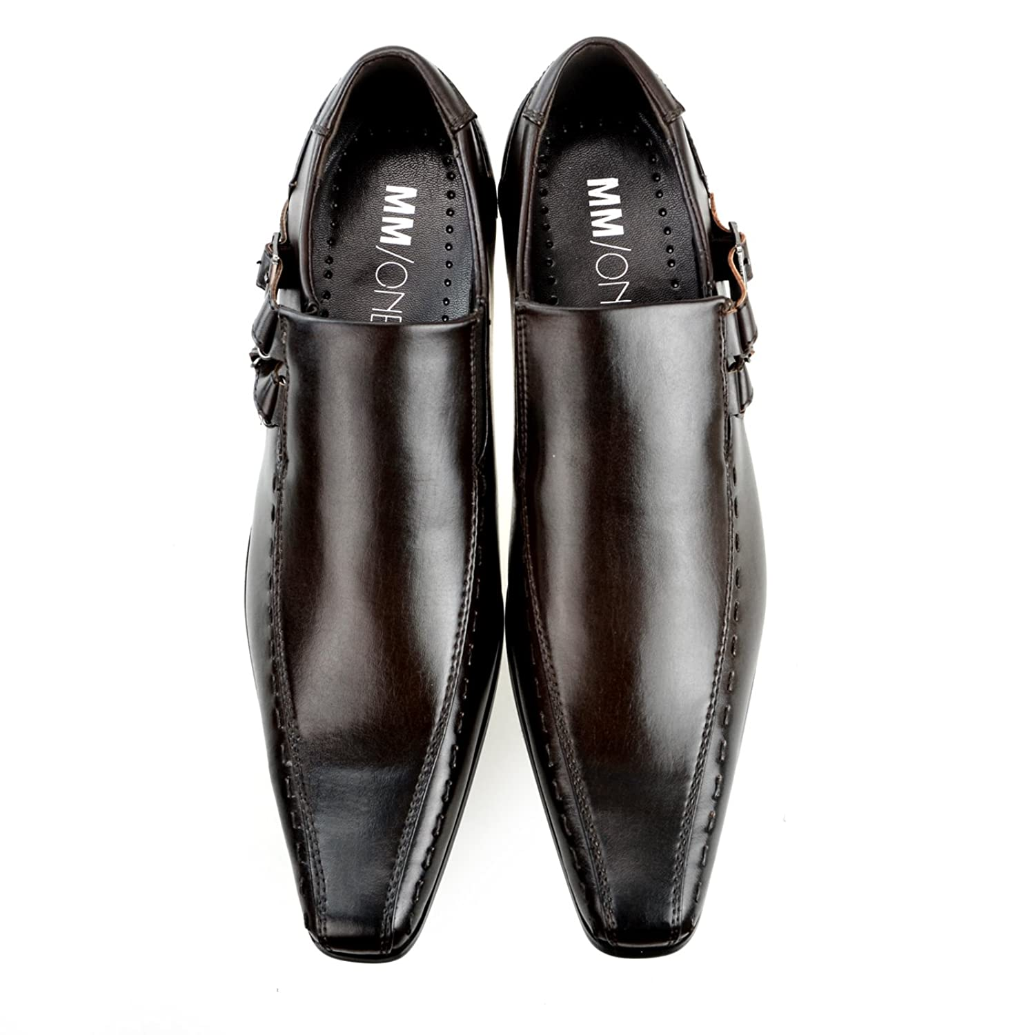 MM/ONE Oxford Men's shoes Straight chip Bicycle Toe monkstrap Slip-on Loafers low-cut Black Dark Brown