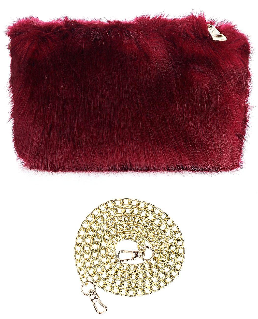 3e849462a95 CC Women's Evening Faux Fur Fuzzy Crossbody Shoulder Bag Clutch Purse