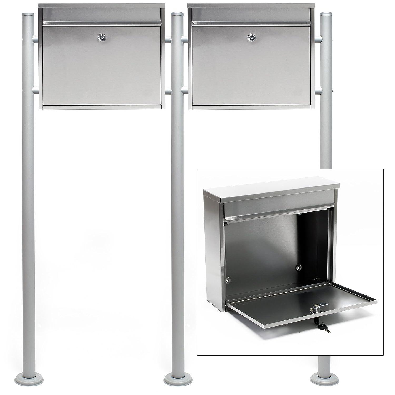 Briefkasten Set Wandbriefkasten V12 Schwarz pulverbeschichtet Doppelt