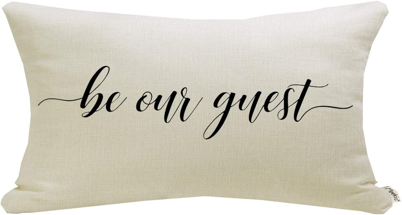 Meekio Farmhouse Pillow Covers with Be Our Guest Quote 12 x 20 inch Farmhouse Rustic Décor Lumbar Pillow Covers with Saying Guest Room Décor
