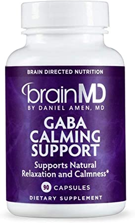 Dr. Amen brainMD GABA Calming Support - 90 Capsules - Stress & Anxiety Relief Supplement, Promotes Relaxation, Contains Magnesium, Vitamin B6 & Lemon Balm - 90 Servings