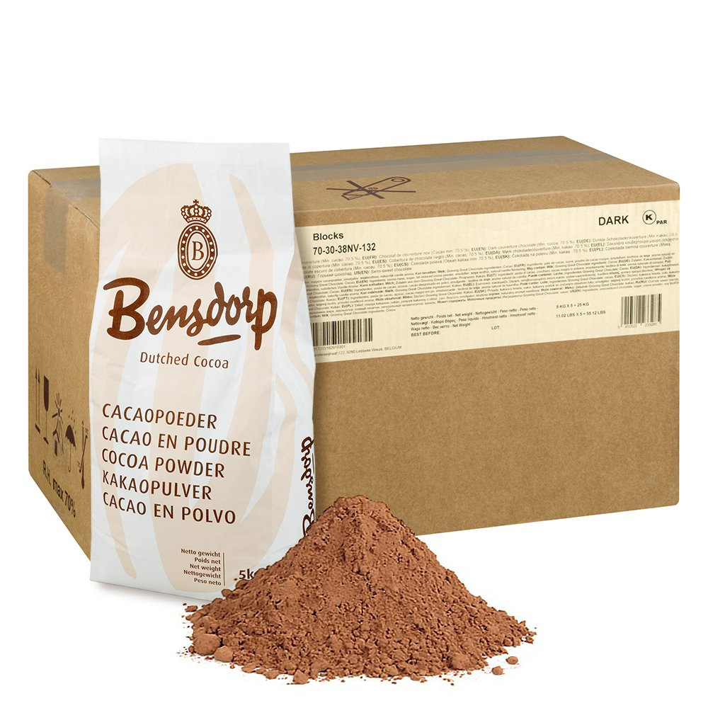 Callebaut Bensdorp Unsweetened Baking Cocoa Powder - Premium Cocoa Powder With 22/24% Cocoa Butter Content Dutch-Processed - GLUTEN FREE - 44 Lbs by Bensdorp
