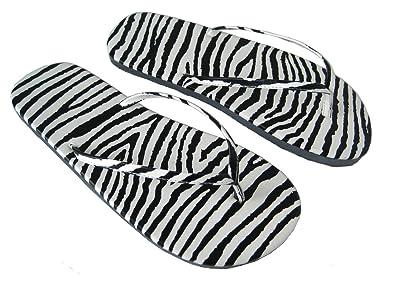 Zebra Druck Flip Flops, Tier Druck, Kunststoff, Strand Sandalen, Größen 4  bis