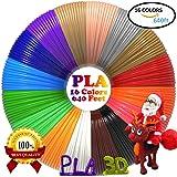 Filament PLA 1,75mm pour stylo 3D Diklale refills d'imprimante 3D 16 couleurs différentes et 12,2 mètres pour les stylo d'impression 3D Polaroid, Scribbler, Sunlu, Amzdeal, Nextech,Soyan