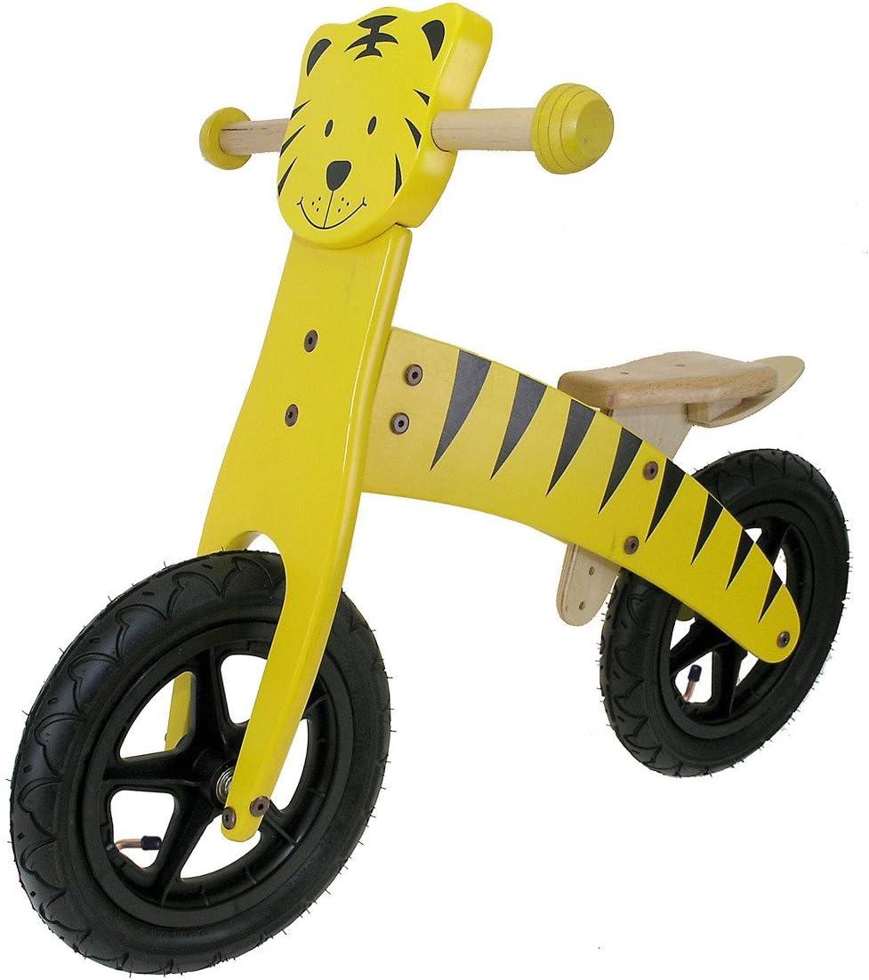 gelb// schwarz 12 Holz-Kinderlaufrad Tiger