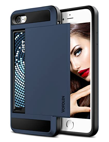 hot sale online a8adb 1e704 Vofolen Sliding Cover for iPhone 7 Case Wallet Credit Card Holder ID Slot  Hidden Pocket Dual Layer Bumper Scratch Resistant Protective Hard Shell ...