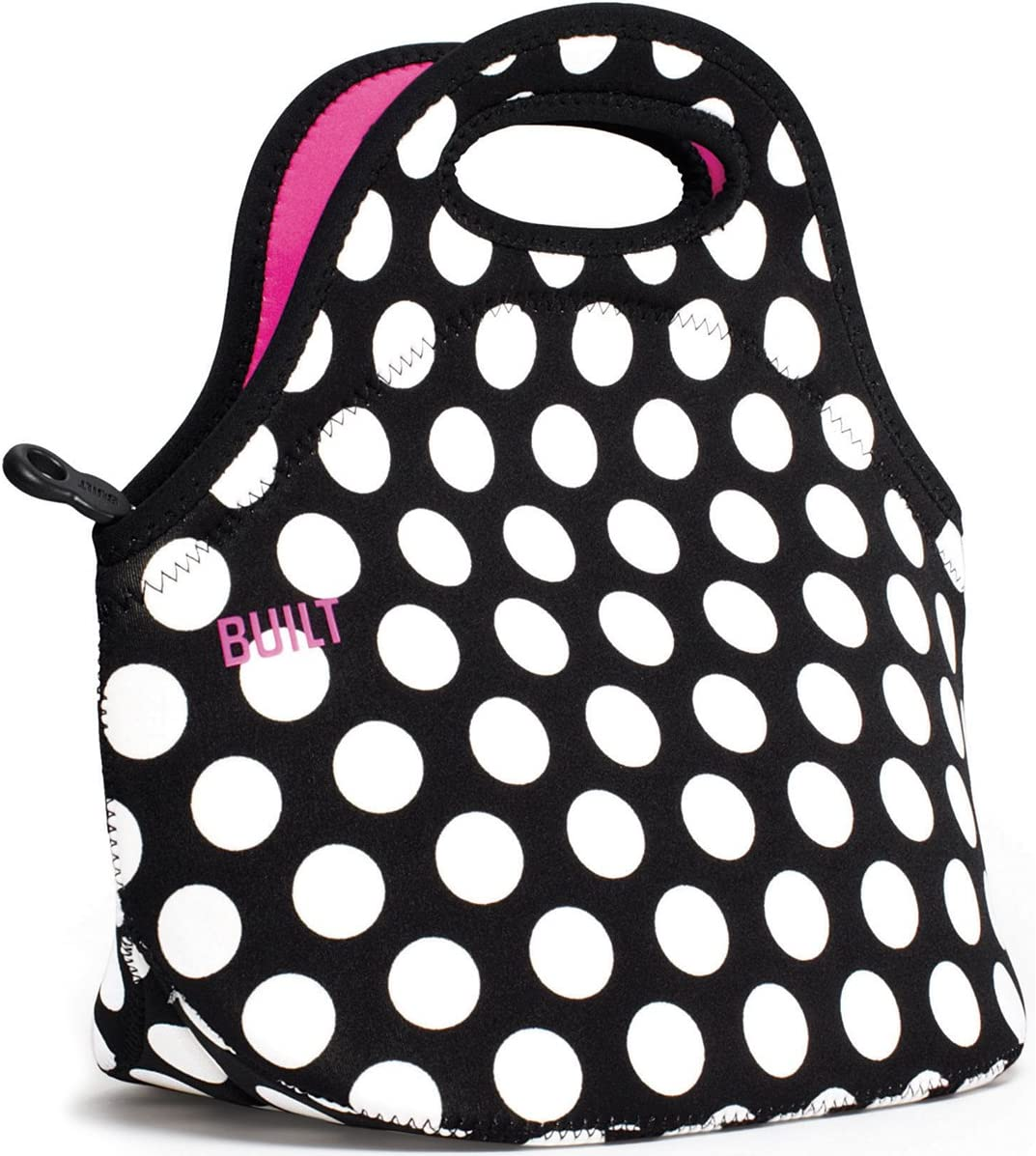 BUILT LB31-BBW Gourmet Getaway Soft Neoprene Lunch Tote Bag-Lightweight, Insulated and Reusable, Big Dot Black & White