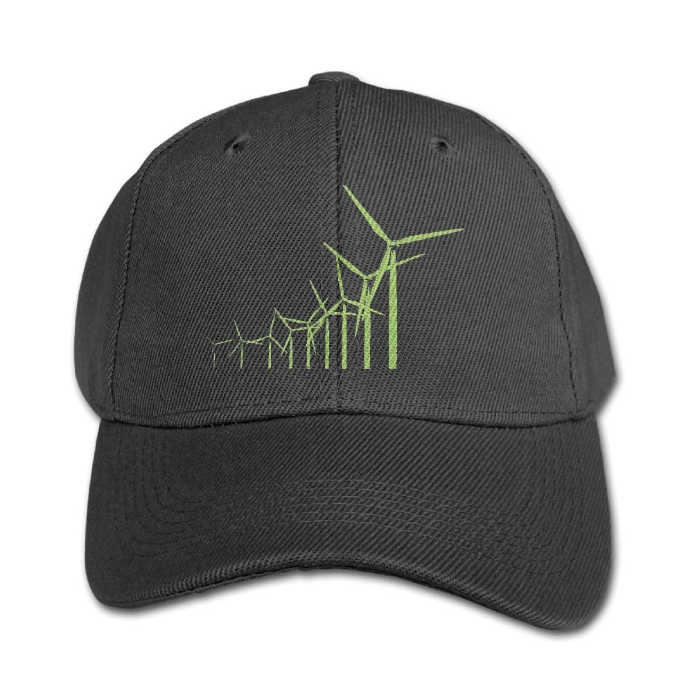 Haibaba Retro Green Wind Turbine Boys and Girls Black Baseball Caps Solid Hats