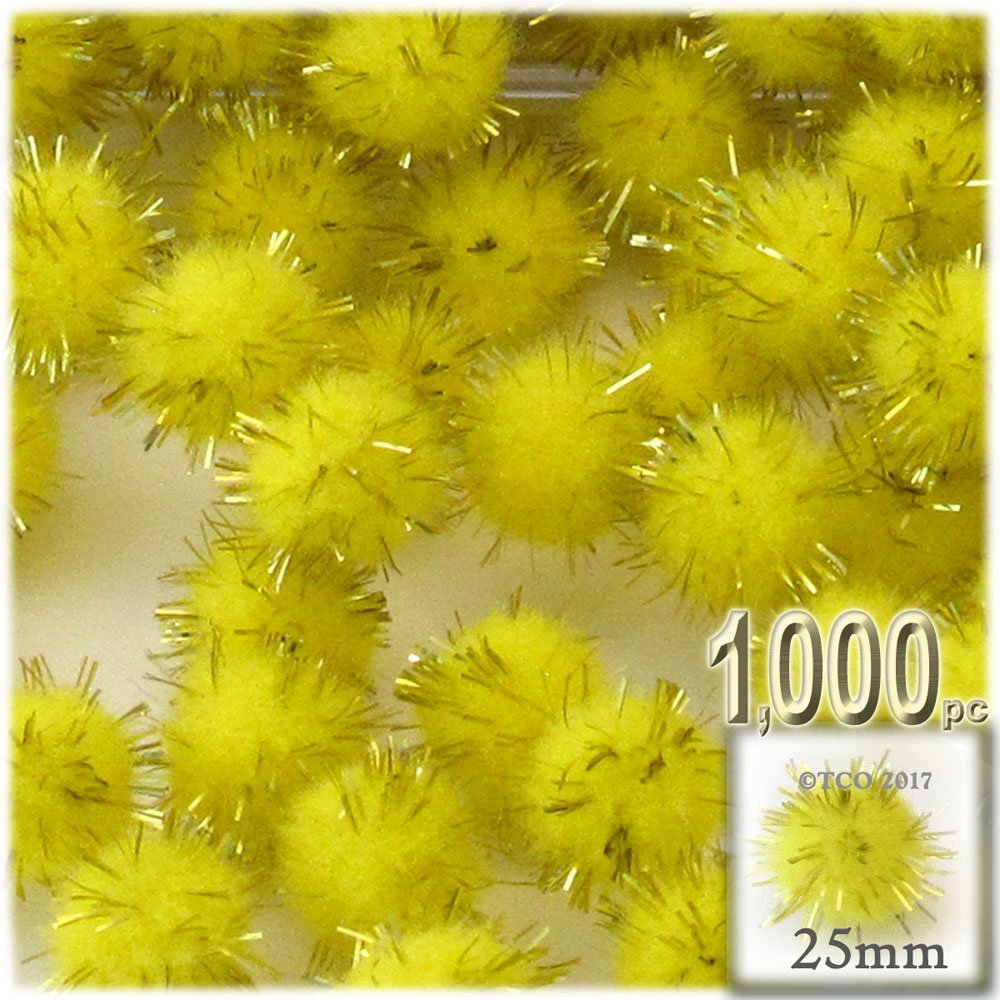The Crafts Outlet Chenille Sparkly Pom Poms, Yellow porcupine, 1.0-inch (25-mm), 1000-pc, Light Yellow by The Crafts Outlet
