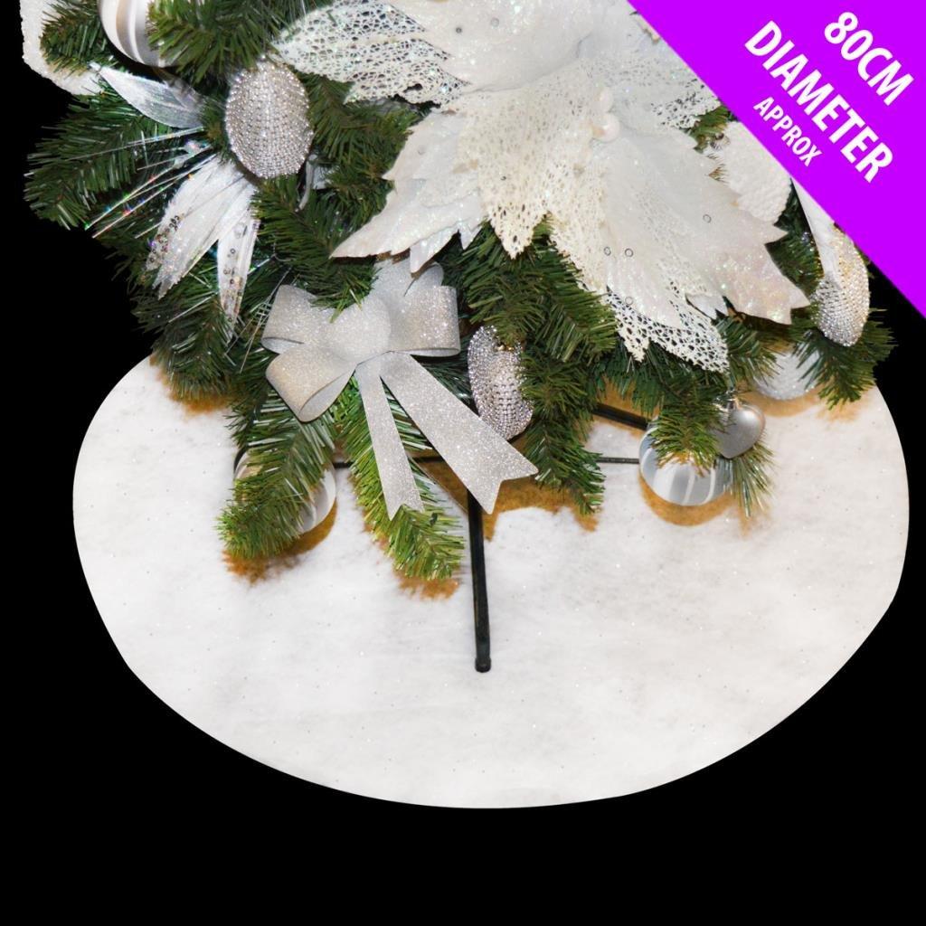 80cm White Glitter Christmas Tree Skirt Soft Snow Blanket Davies