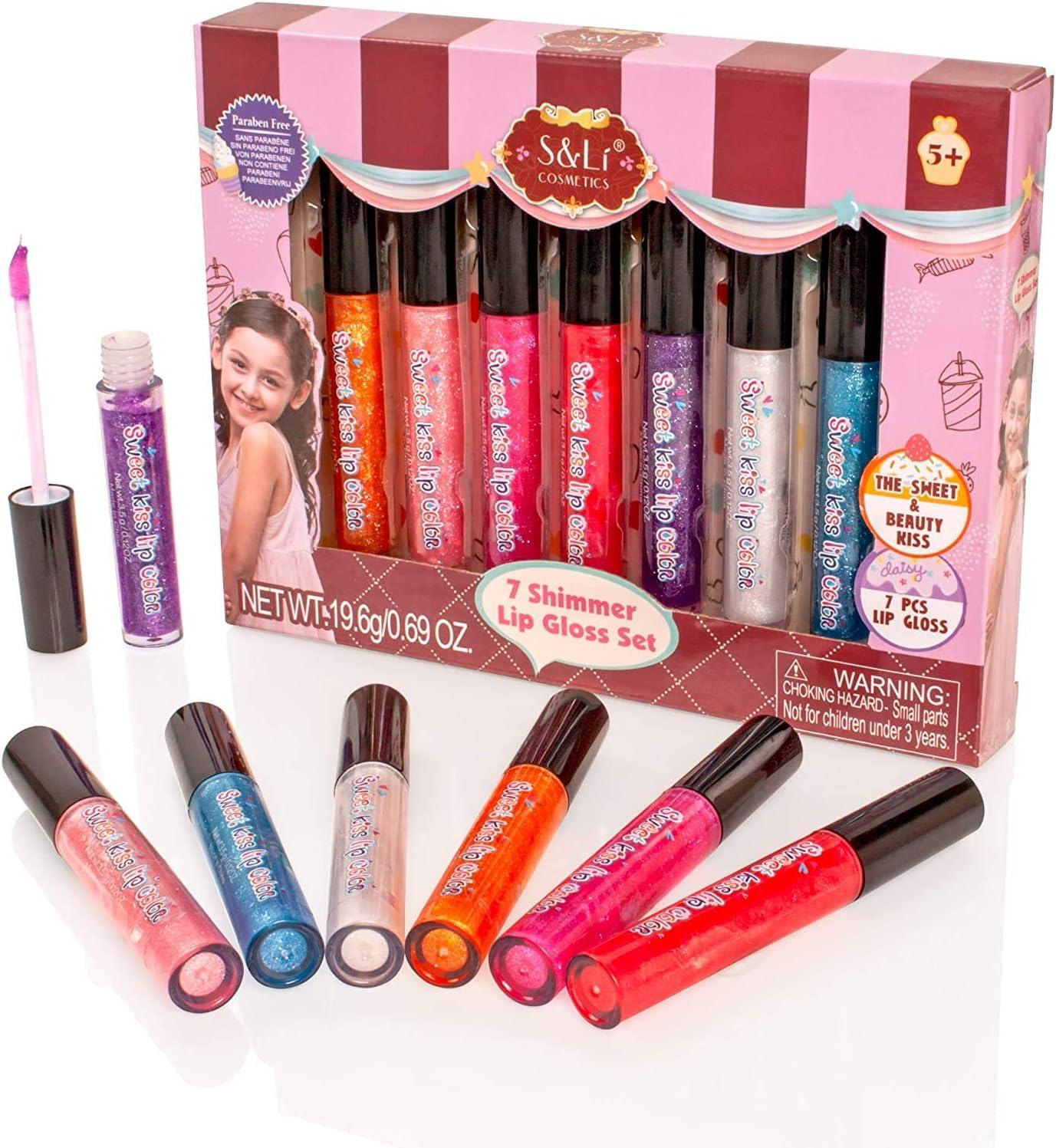 Style Girlz S & Li Cosmetics - Juego de 7 paletas Multicolores, Brillo de Labios, Brillo de Labios