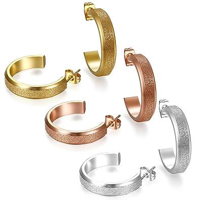 e8b7464d6cba Flongo 3 Pares Pendientes de Aros para Mujer Acero Inoxidable Color Plata  Oro Rosa Dorado Zarcillos Hoops Aretes Unisex Retro Elegante