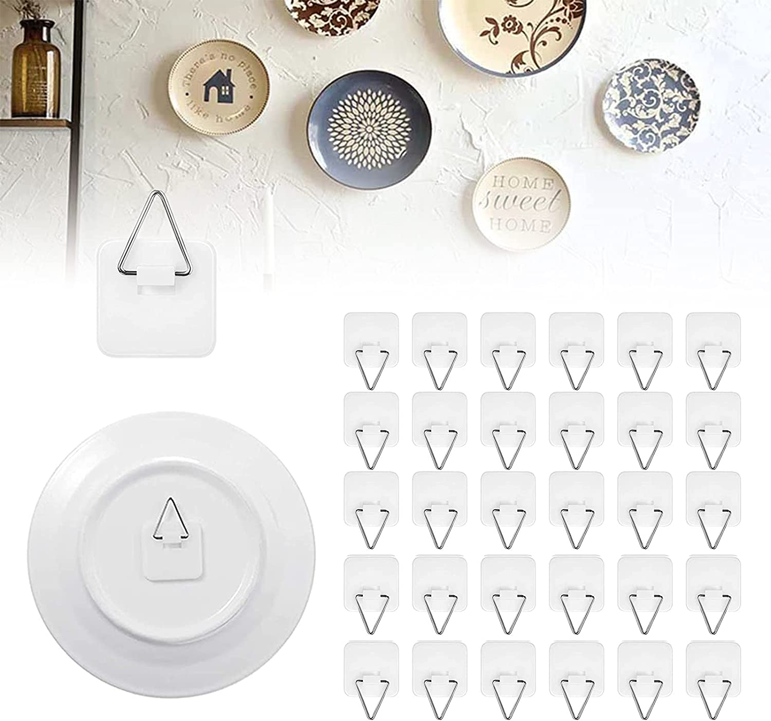 50 Packs Invisible Plate Hanger for the Wall,1.25 Inch Adhesive Plate Wall Hangers, Vertical Wall Plate Holder for Hanging Picture, Plate, Photo, Frames, Home Wall Art Decor Supplies Without Nails