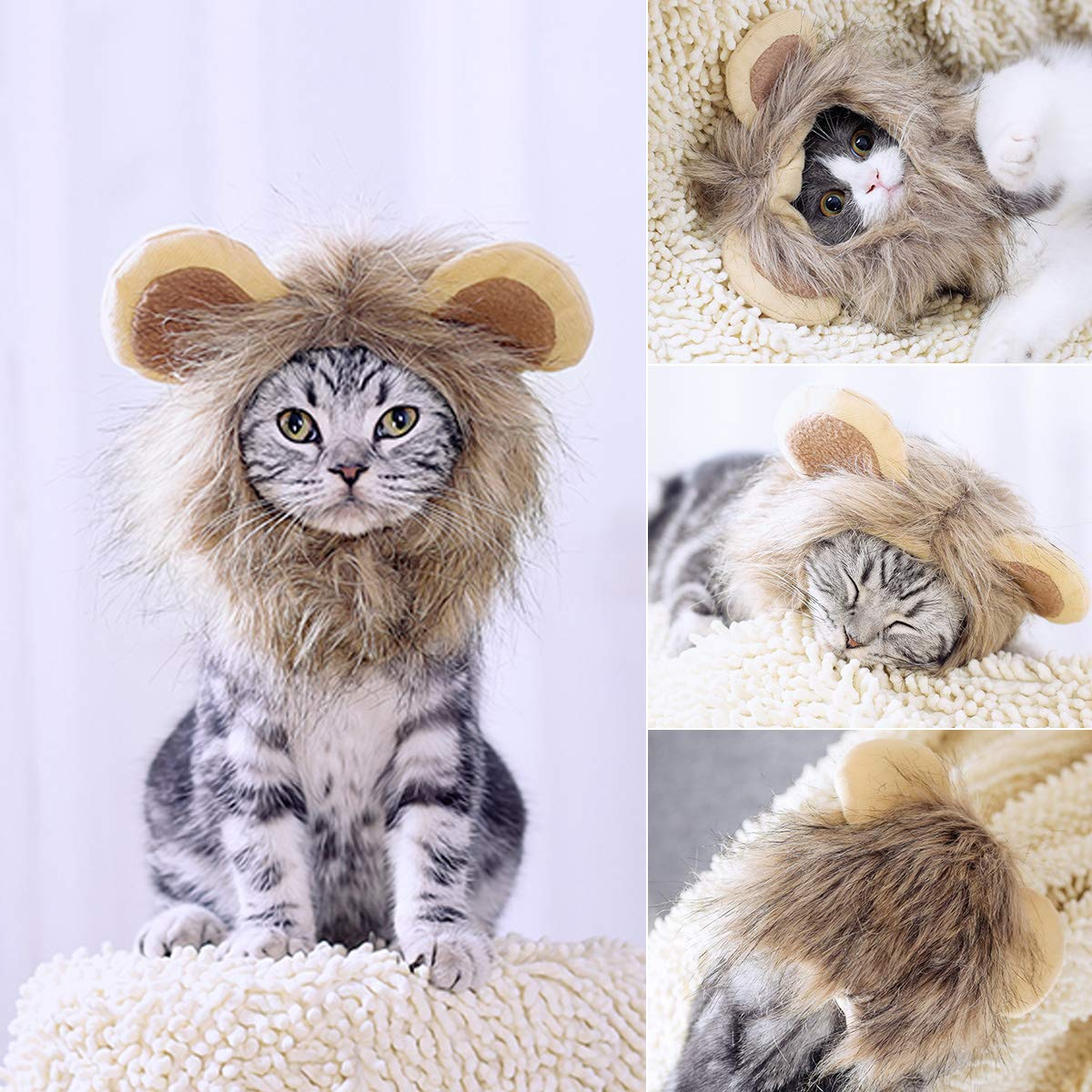 Petleso Lion Mane Costume - Pet Cat Lion Mane with Ears Adjustable Washable Pet Halloween Costume for Doggy Puppy Cats