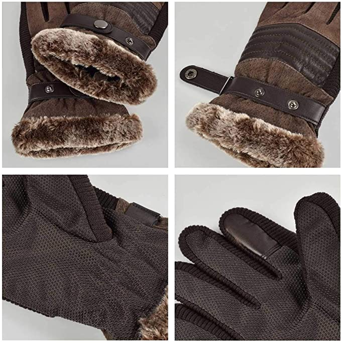 Superora Guantes de Hombre Pantalla T/áctil para Invierno Cuero de Gamuza con Forro de Felpa Calientes Casual Ocio