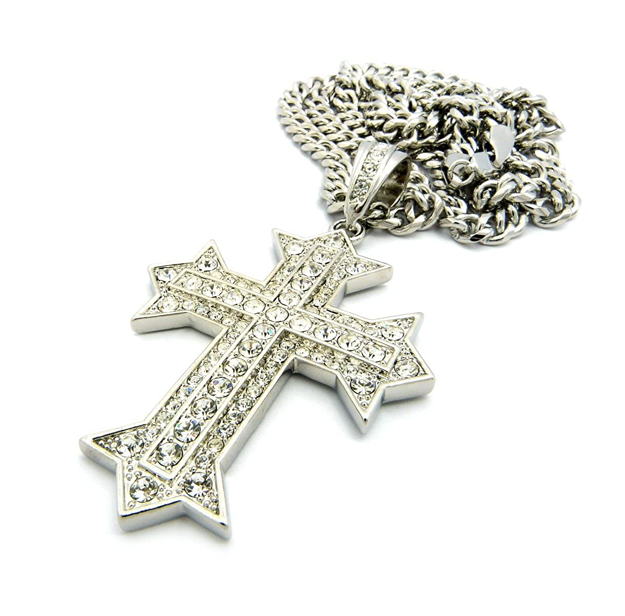 New Iced Out CROSS Pendant /&6mm//36 Cuban Link Chain Hip Hop Necklace CP136R