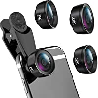 LIGINN 3 in 1 Phone Camera Lens Kit 210° Fisheye Lens+ 120 Super Wide-Angle Lens + 25x Macro Lens for iPhone Smartphones…